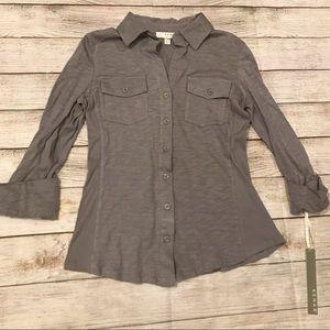 Kenar Button Down 3/4 Sleeve Top Size S